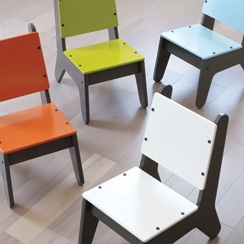 BB2 Painted Chairs by Not Neutral: I like the simple design and nice colors. Table available too. (BB2 stands for Baby Boomer Too!)