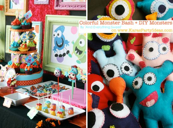 Colorful MONSTER bash party with DIY monsters! Via Karas Party Ideas
