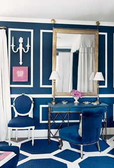 I love this color idea for your bedroom. It's not too feminine or too masculine and you can add a ton of white and yellows to lighten it up. Not all the crown molding, that's too busy, but the color is amazing. Very classic looking. Navy Walls