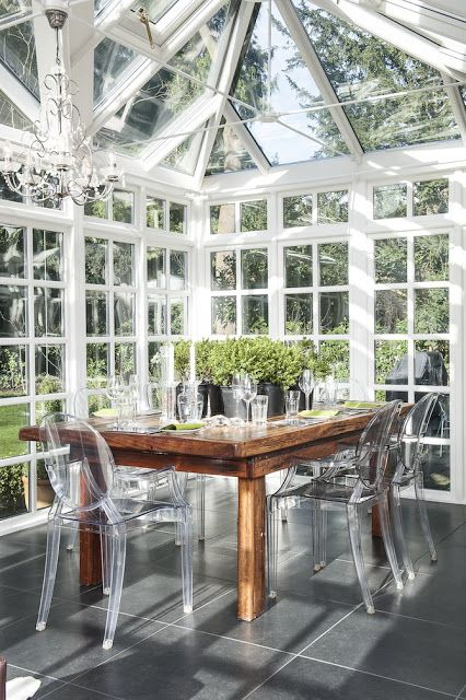 chost chairs in sun room - interesting #3seasonroominspiration learn how to create your perfect sunroom at www.boardwalknort...