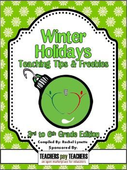 FREE! 50 TpT sellers have come together to bring you this amazing holiday gift. On each page a different seller shares a holiday teaching tip and links to one or two holiday freebies! This is the grade 3-6 edition.