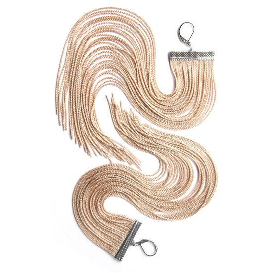 // Beige Long Fringe Earrings