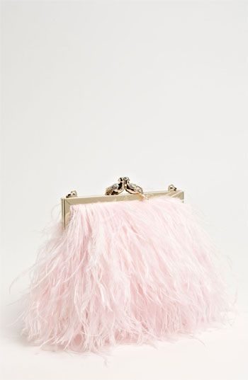 Fashionable & Pastel! kate spade new york 'belle elliana' feather clutch available at Nordstrom #wedding
