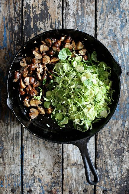 Mushroom and Brussels Sprout Breakfast Hash