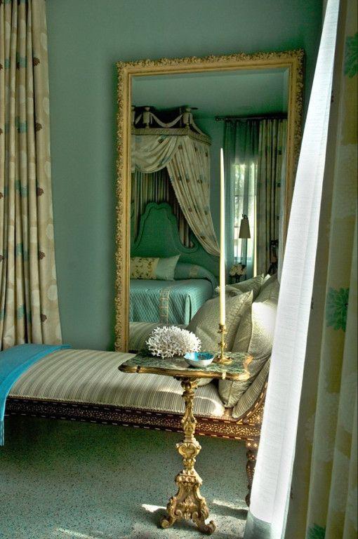 Luxurious gold and aqua . mirror