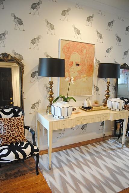 lamps, rug, animal print