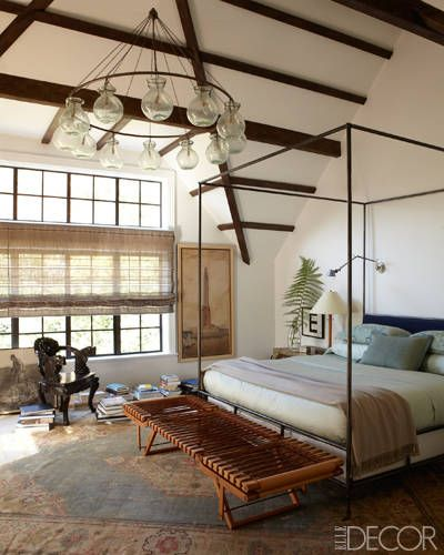 A master bedroom light fixture made of hand­ blown Egyptian glass.