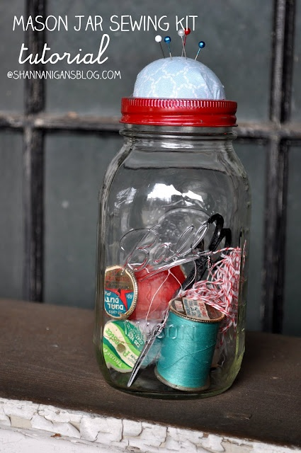 what a great gift idea! – DIY mason jar sewing kit. you need to fill the filling