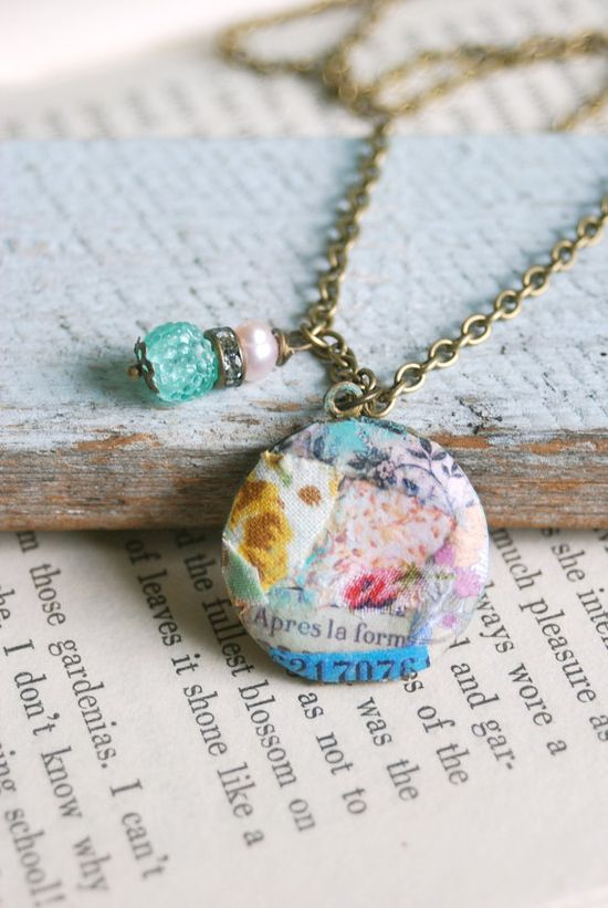 Sophia.mixed media,altered art,bohemian locket necklace. Tiedupmemories
