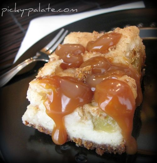 Caramel Apple Cream Cheese Cookie Bars  3 T butter  3 C Golden Graham Cereal  1 Roll Pillsbury Sugar Cookie Dough or 2 pkgs Betty Crocker Sugar Cookie Dough Mix prepared and divided into 2 equal parts  8 oz  cream cheese  1/4 C sugar  1 t vanilla  21 oz  apple pie filling  1.5 oz pkg Nature Valley Oats N' Honey Crunchy Granola Bars, crushed  9.5 oz Caramels  1/2 C half and half