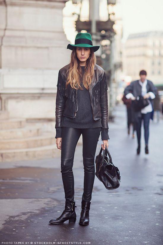 Black + green hat.