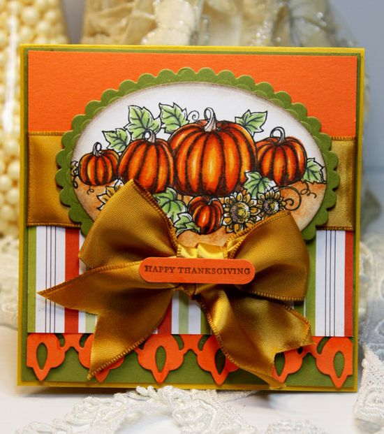 Such an eye-catching, immensely pretty Thanksgiving card. #card #ribbon #Thanksgiving #fall #scrapbooking #handmade