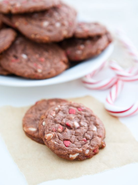 Chocolate Pudding Peppermint Cookies by EclecticRecipes.com #recipe