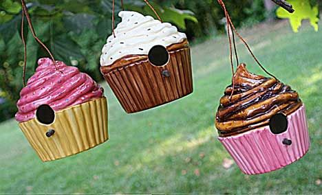 Ceramic Cupcake Birdhouses