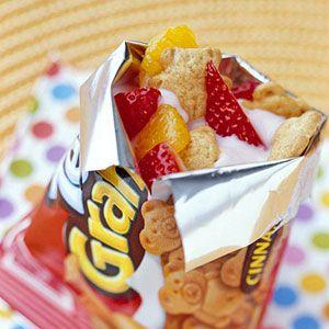 Bear-shaped graham cookies with yogurt and fresh berries