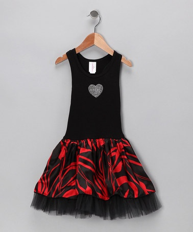 Take a look at this Black Red Floral Tulle Dress - Toddler & Girls  by One Love Kids on #zulily today!
