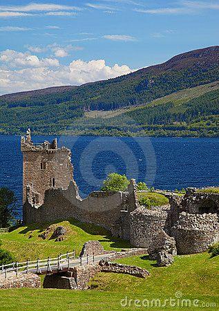 Bucket List  - Scotland. Ruins of Urquhart Castle on the shores of Loch Ness, Scotland