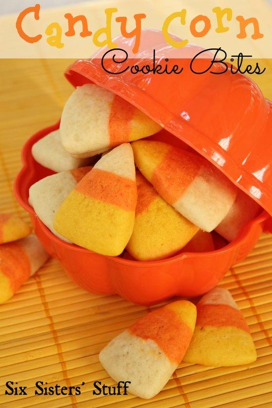 Candy Corn Cookie Bites Halloween Treat SixSistersStuff.com