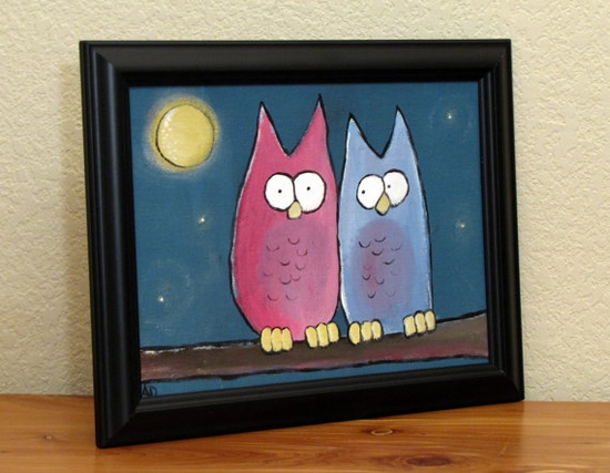 I ? OWLS   Kids Art Whimsical Owl Painting Childrens Artwork 12 by andralynn, $50.00