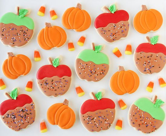 Caramel Apple and Pumpkin Decorated Cookies - by glorioustreats.com