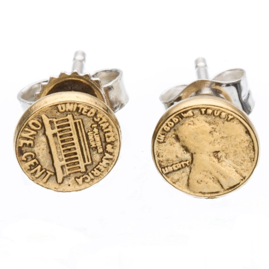Lucky Penny Studs Gold Plate