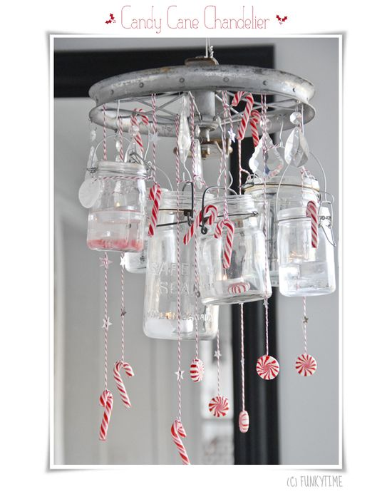 Chandelier with Jars and Candy Canes
