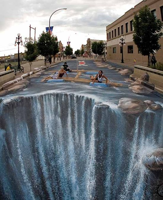 Street 3D art. People on a chalk art raft in a street, going towards the edge of a waterfall