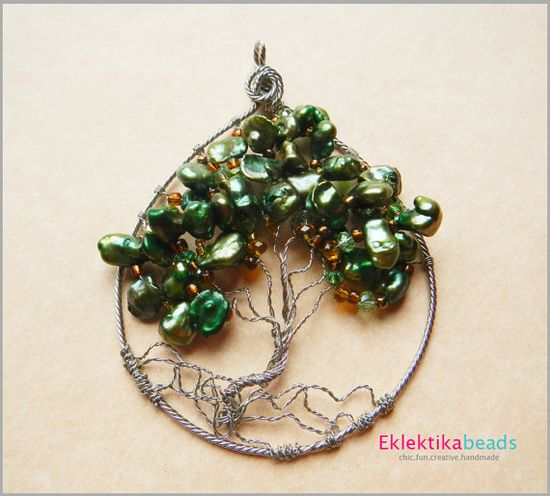 Wire art Tree of Life pendant.  Made with Keishi freshwater pearls and glass beads.