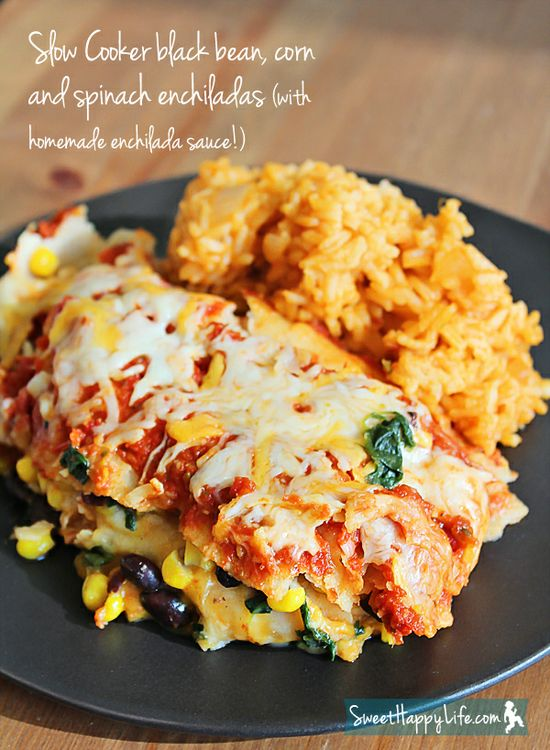 Slow Cooker Black Bean, Corn and Spinach Enchiladas (with Homemade Sauce)
