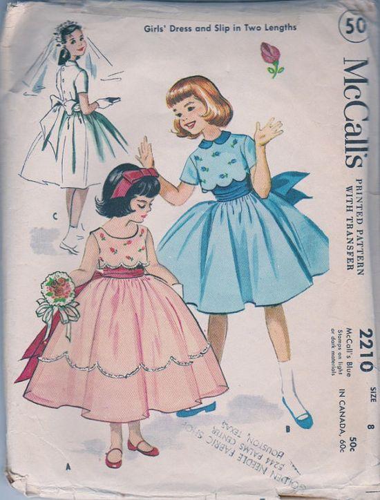 McCalls 2210 Vintage 1950s Little Girls Dress 1957