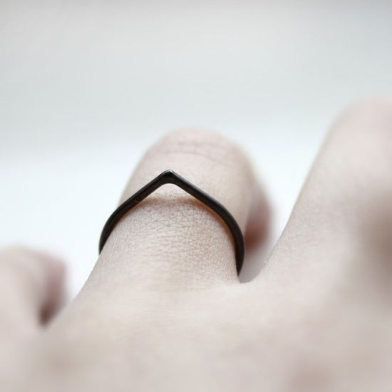 Thorn oxidized sterling silver ring by Mirta. Simple and subtle.