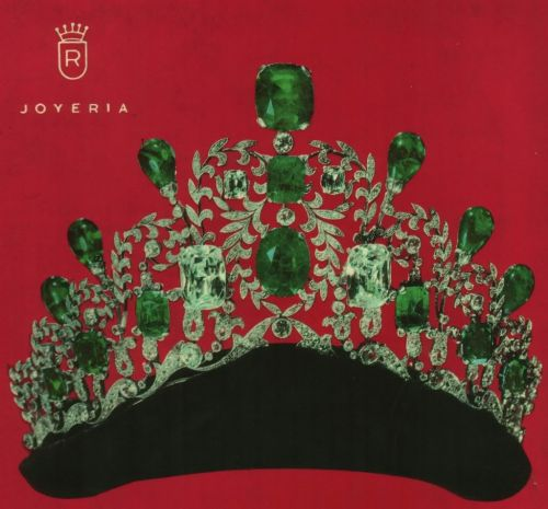 interesting emerald and diamond tiara