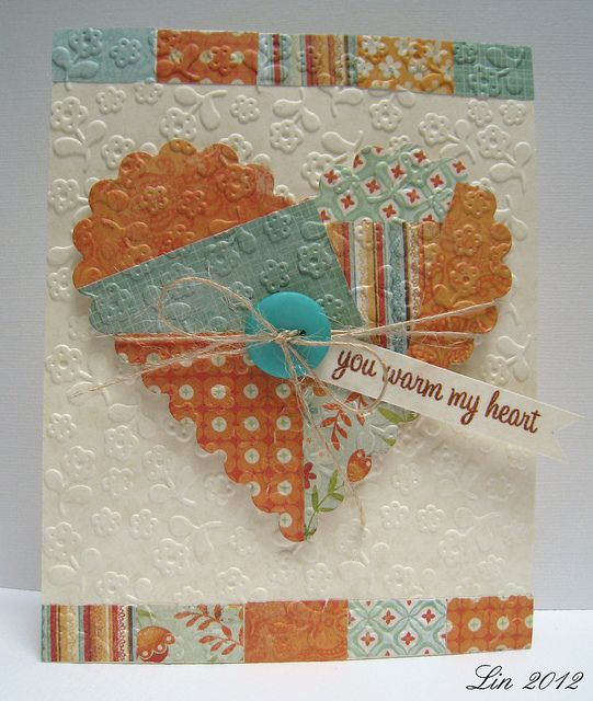 luv the patched heart with tiny, sweet embossed flowers makes this card match tghe sentiment...