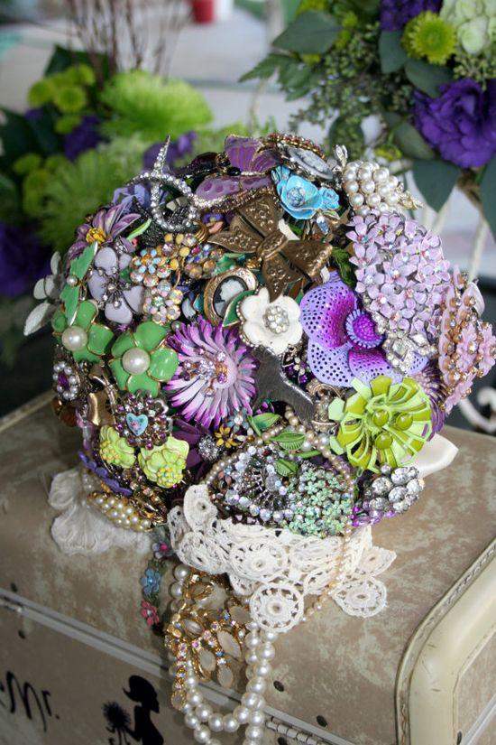 Purple & Lavender Brooch Bouquet