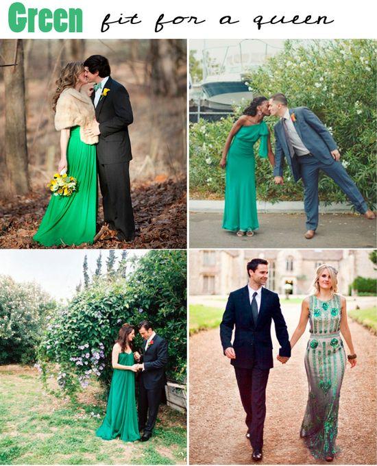 Green wedding dresses ~ love a bride in emerald green