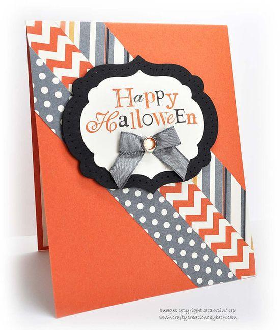 Handmade Halloween Card  Diagonal Paper by CardCreationsbyBeth, $2.75