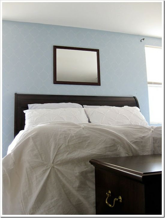 Stenciled wall: stencil paint color is wall color + shimmery silver and pearl white paint