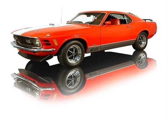 1970 Calypso Coral Ford Mustang Mach 1 428 Cobra Jet 4 Speed. Source: RK Motors Charlotte.
