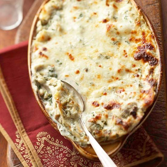 creamy artichoke lasagna bake.