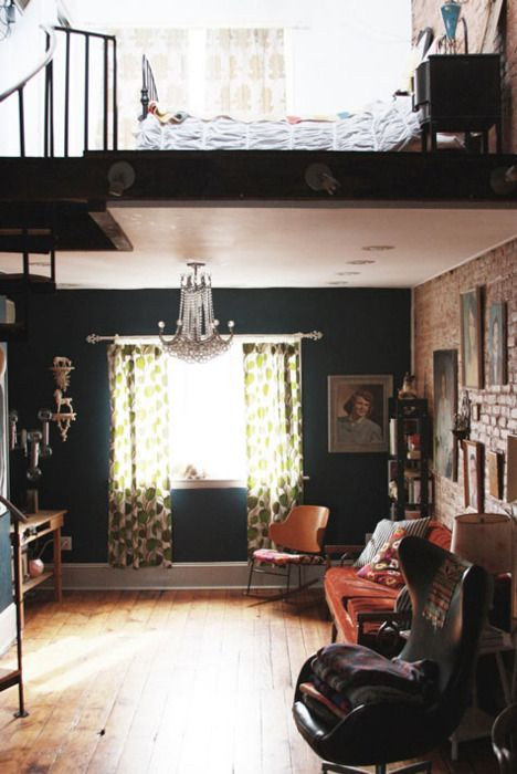 The Decorista-Domestic Bliss: NYC apartment decor style: bits of brick...