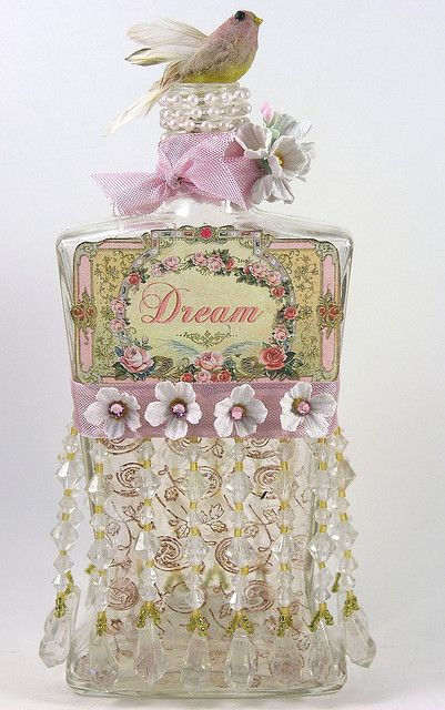 Bottle of Dreams    Vintage bottle with a makeover!  www.shabbycottage...