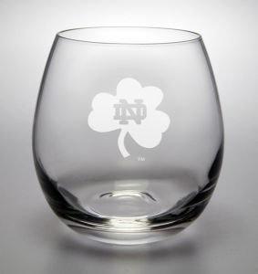 Notre Dame Fighting Irish Shamrock Deep Etched Stemless Wine Glass
