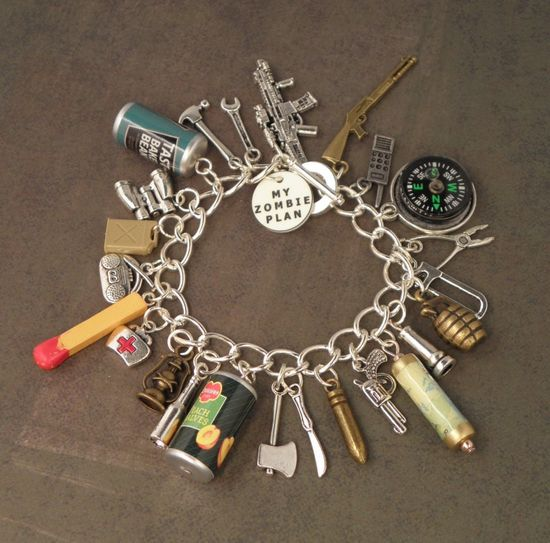 Zombie Apocalypse checklist, in the form of a charm bracelet. Want!!