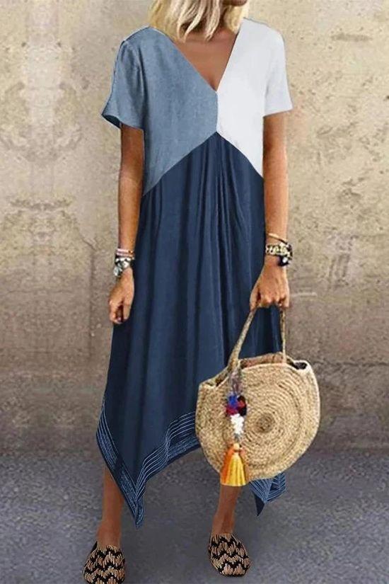 Color Block Irregular Hem V-neck Midi Dress - shopingnova
