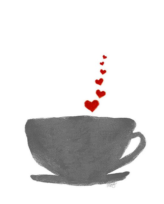 Coffee Print Red and Gray Watercolor Art Print Good Morning Cup of Joe Caffeine Kitchen Decor