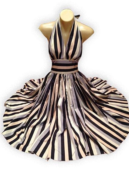 Neapolitan Stripe 1950's style Halter Dress by SallyCinnamonDress, $60.00