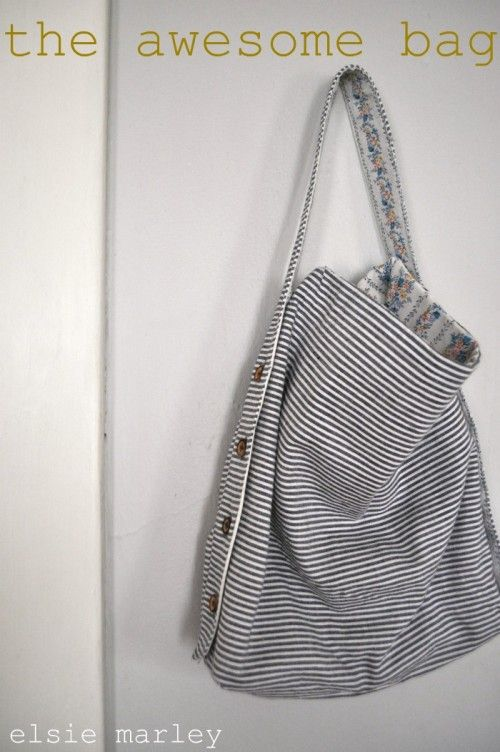 awesome bag tutorial by meg of elsiemarley on versusmag.blogspo.... I love that you can change the strap length- and it's reversible!