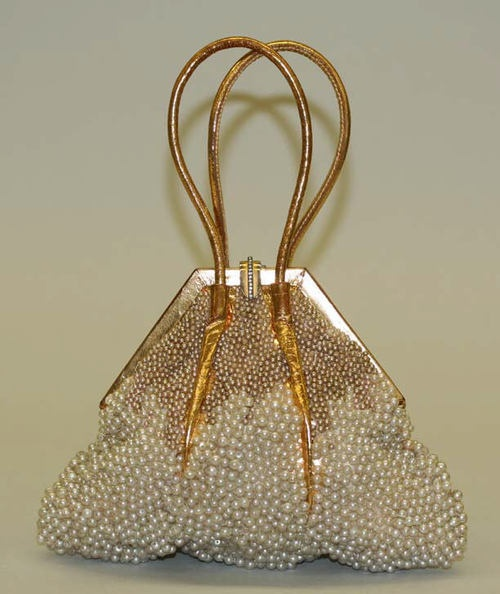 Gold leather and pearl bead evening bag by Marshall Field & Co., American, 1933. #vintage #purses #handbags #accessories
