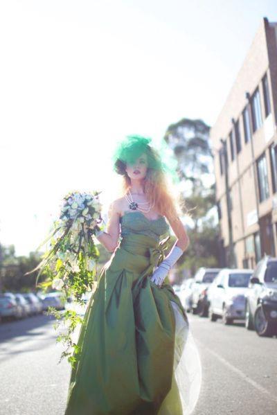 #Green wedding dress.
