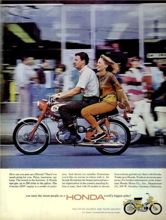 1965 Honda Motorcycles - no health and safety back then!